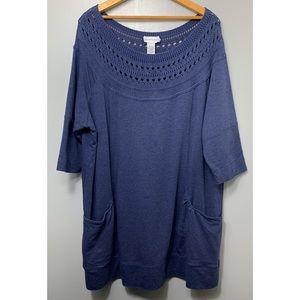 SOFT SURROUNDINGS Dark Blue Pocket Tunic Top